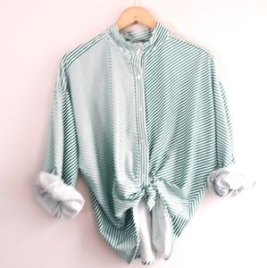 Vintage Anthony Richards Green & White Striped Top